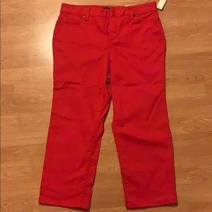 Talbots red crop jeans